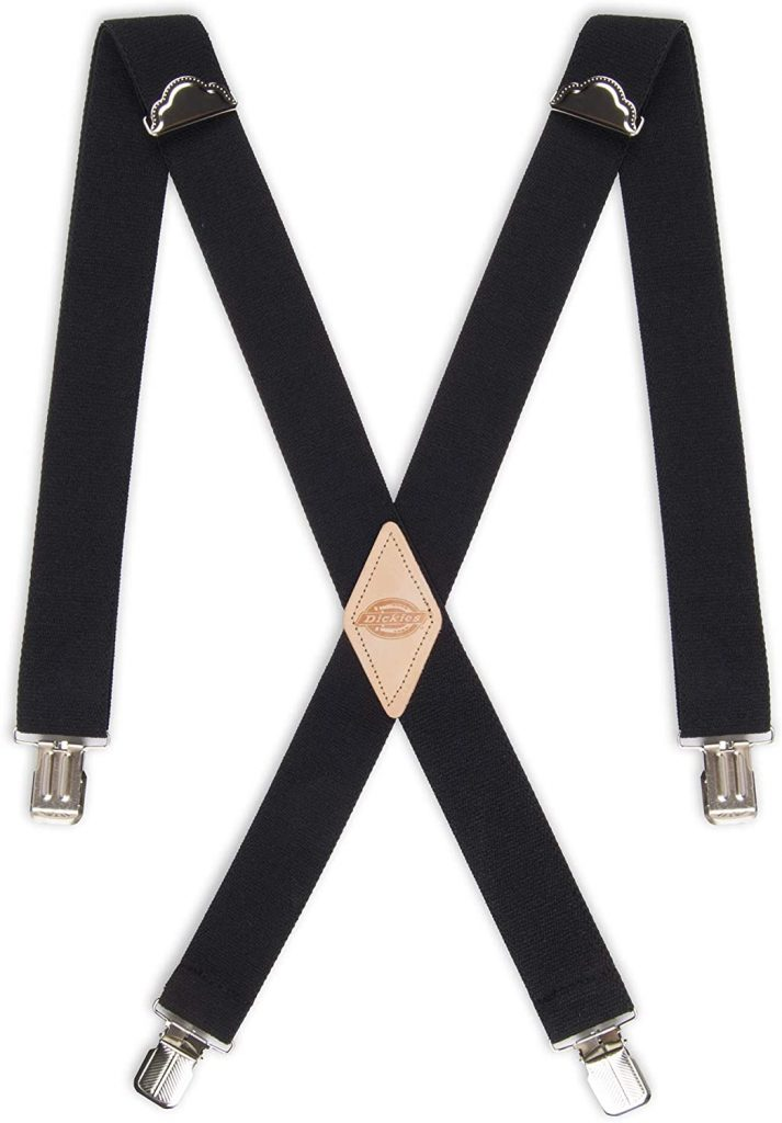 Dickies Men's 1 1/2 inch Solid Straight Clip Adjustable X Back Suspender